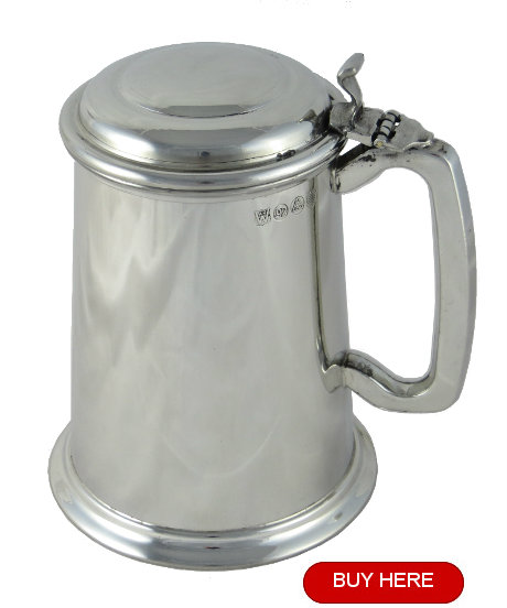 Pewter tankard with lid